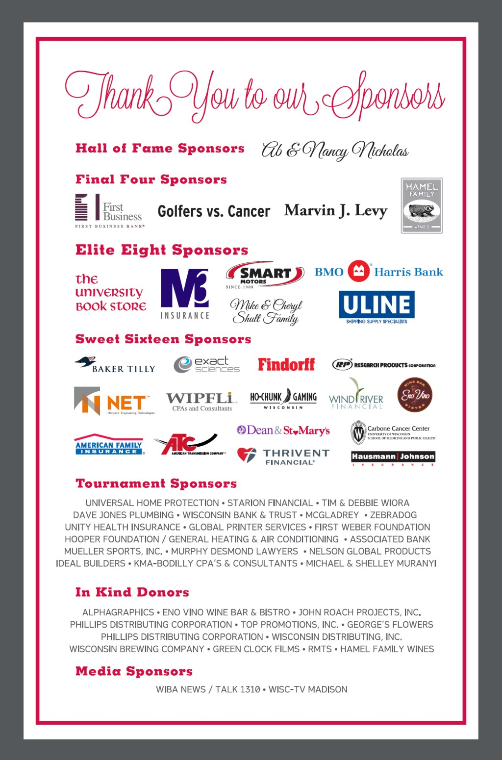 Thanks to our 2014 Sponsors!